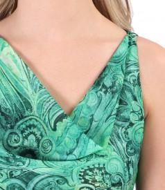Rochie din voal imprimat cu decolteu in falduri