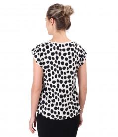 Bluza din jerse imprimat cu buline