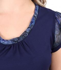 Bluza din jerse elastic cu maneci din voal