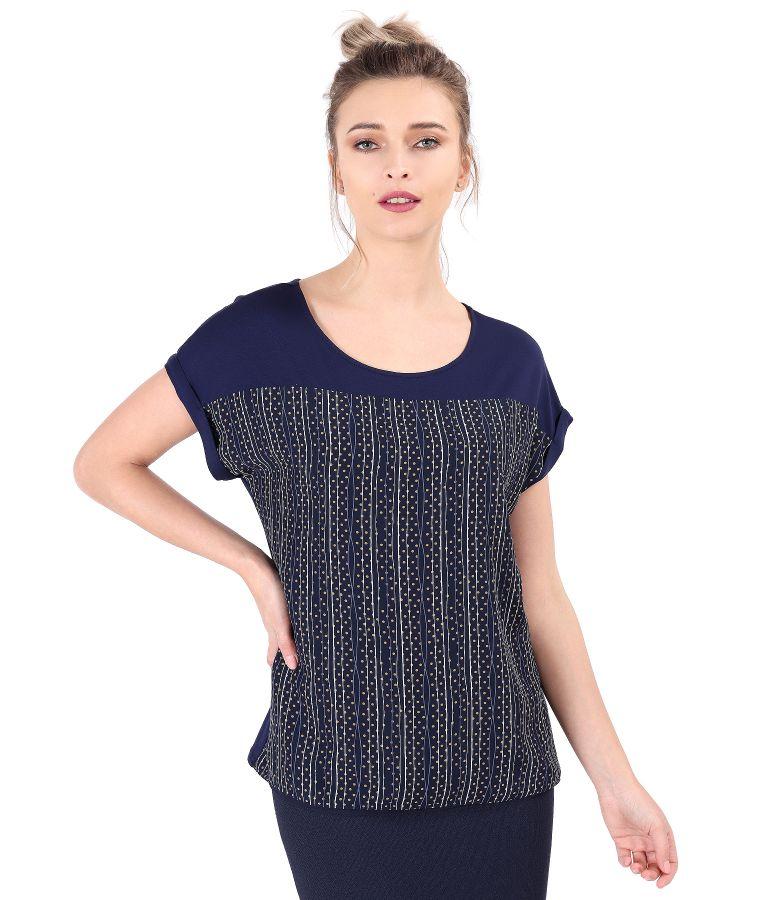 Bluza cu fata din voal imprimat cu dungi si buline