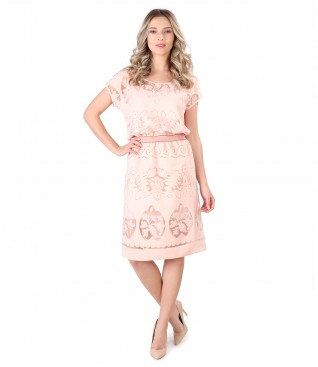 Rochie eleganta din organza brocata cu motive de in si vascoza
