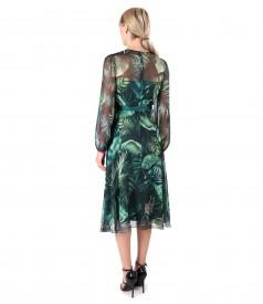 Rochie din voal imprimat cu motive florale si brosa in talie