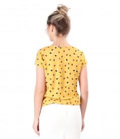 Bluza eleganta din viscoza imprimata cu buline