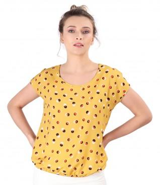 Bluza eleganta din vascoza imprimata cu buline