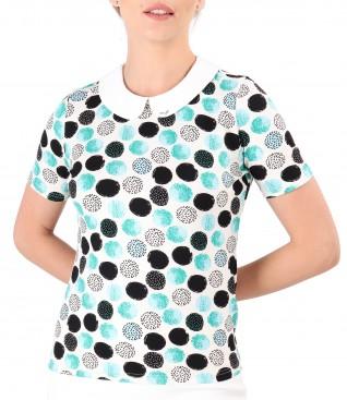 Bluza cu guler rotund cu aplicatie de cristale Swarovski