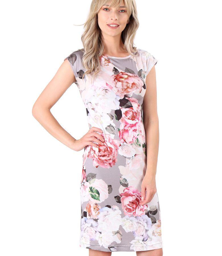 Rochie din jerse subtire imprimat cu motive florale