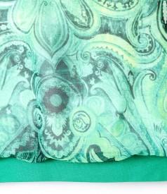 Bluza cu fata din voal imprimat cu voal