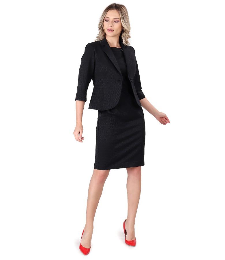 Costum dama office cu rochie si sacou din bumbac texturat