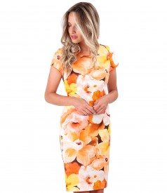 Rochie midi din bumbac imprimat cu motive florale
