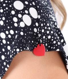 Rochie din jerse subtire imprimat cu picouri