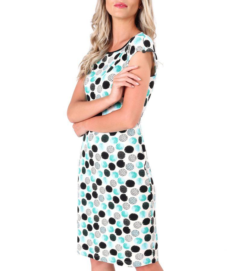 Rochie din jerse subtire imprimat cu buline