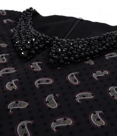 Rochie din voal cu guler cu margele