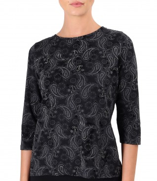 Bluza din jerse elatic gros imprimat cu motive paisley