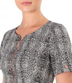 Rochie din stofa cu animal print si fir de lurex