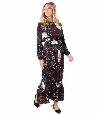 Rochie lunga din vascoza imprimata cu motive florale