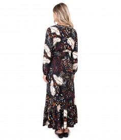 Rochie lunga din viscoza imprimata cu motive florale