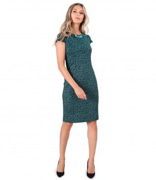 Rochie midi din jerse elastic imprimat cu frunze