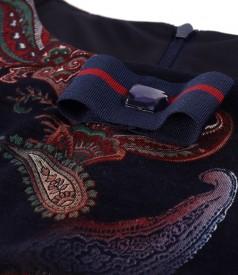 Rochie midi din jerse elastic imprimat