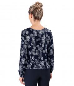 Bluza eleganta din viscoza imprimata cu motive florale