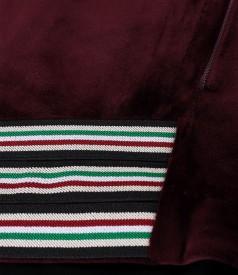 Hanorac din catifea cu garnitura din elasic