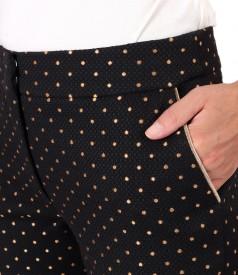 Pantaloni office din bumbac gros brocat