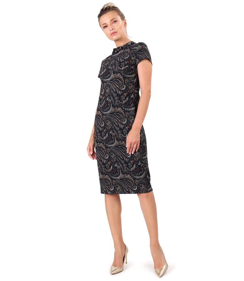 Rochie midi din brocart elastic cu guler tunica