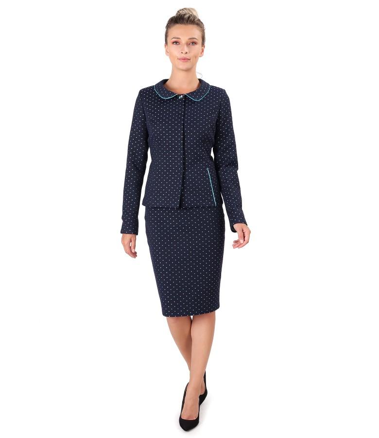 Costum dama office cu sacou si fusta din bumbac gros brocat