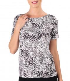 Tricou din jerse elastic cu print leopard 3d