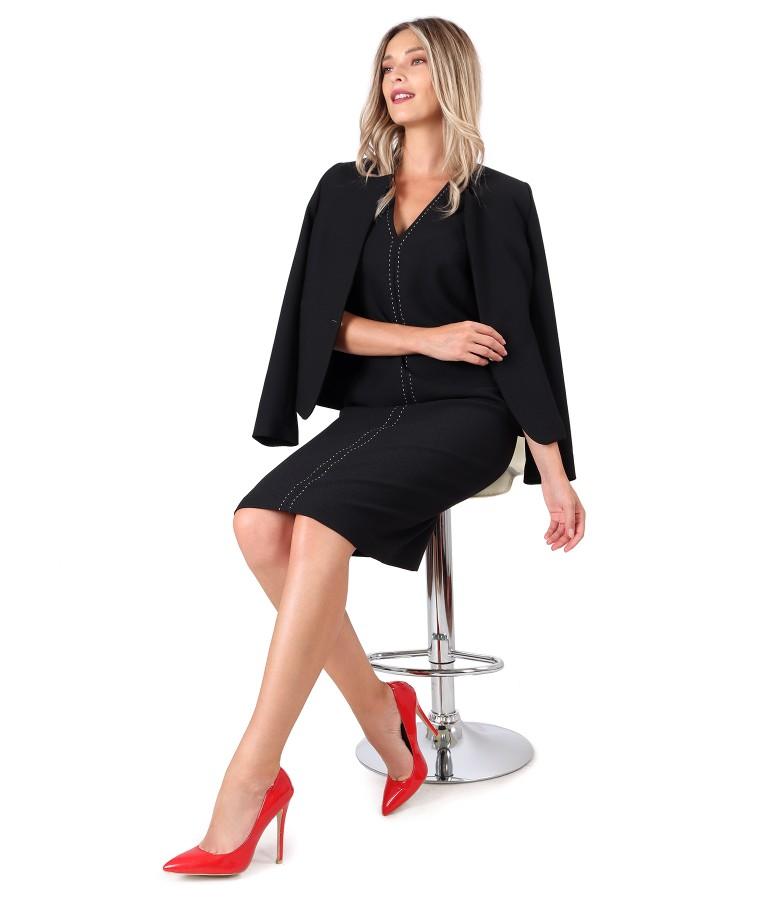 Costum dama office cu rochie si sacou din stofa elastica neagra