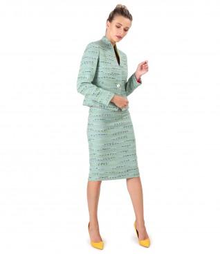Costum dama office cu fusta si sacou din bucle de lana