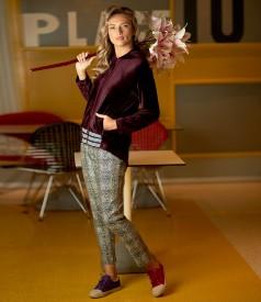 Hanorac din catifea cu pantaloni pana cu animal print