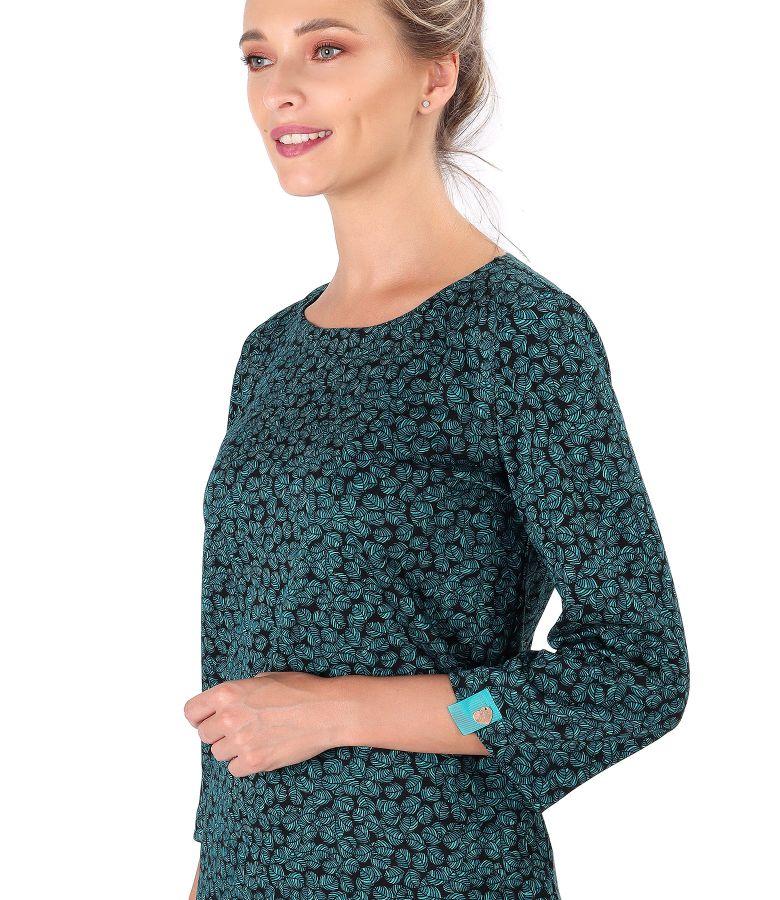 Bluza din jerse elastic gros imprimat cu frunze