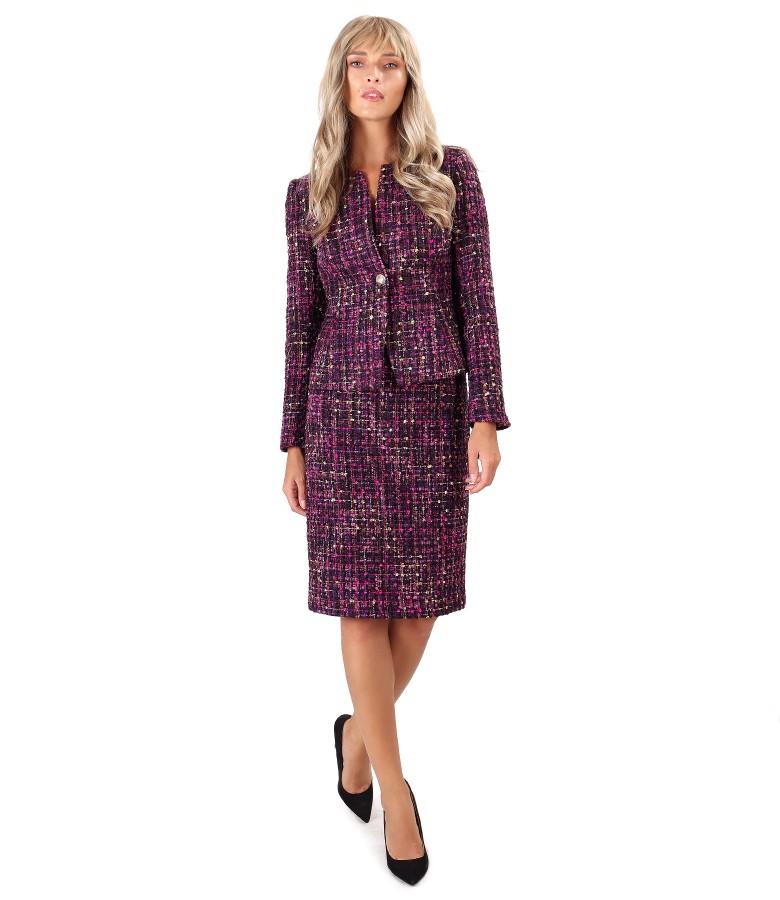 Costum dama office cu fusta si sacou din bucle multicolor cu lana