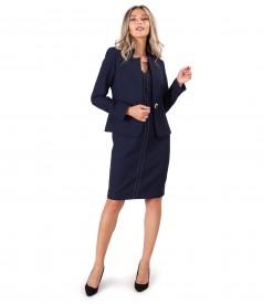 Costum dama office cu rochie si sacou din stofa elastica