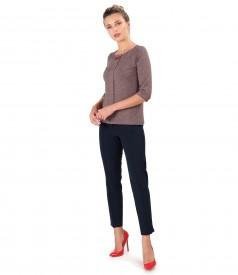 Bluza din jerse elastic si pantaloni pana