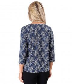 Bluza din jerse elastic gros cu imprimeu paisley