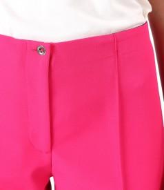 Pantaloni pana cu dunga cusuta pe fata