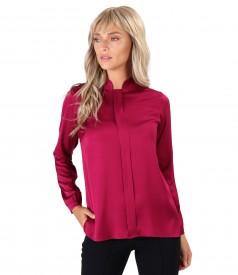 Bluza din saten de viscoza cu guler gen tunica