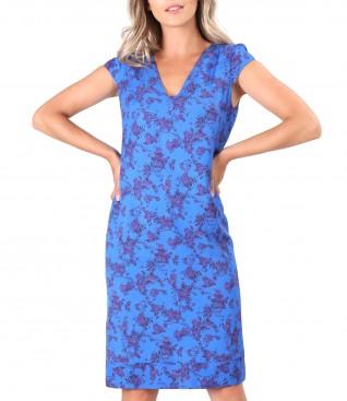 Rochie midi din viscoza imprimata cu motive florale
