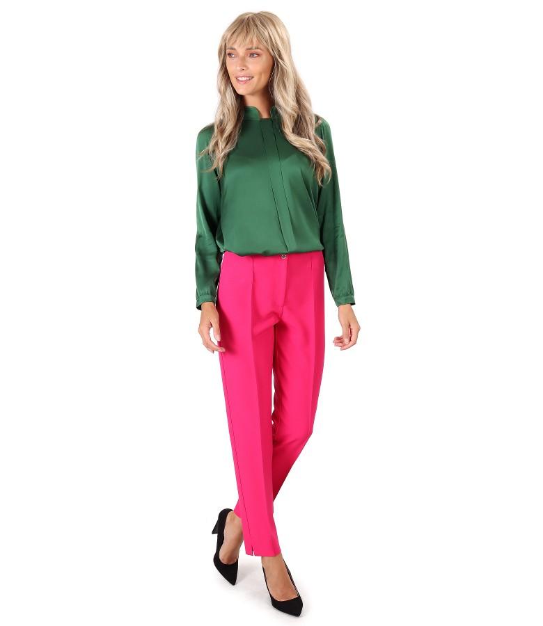 Pantaloni pana cu bluza din saten de viscoza