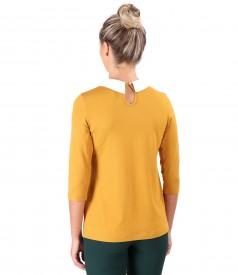 Bluza din jerse elastic cu guler ascutit