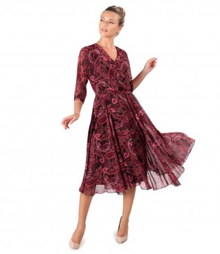 Rochie eleganta din voal imprimat cu motive paisley
