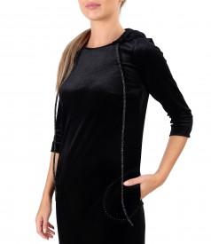 Rochie din catifea elastica cu gluga