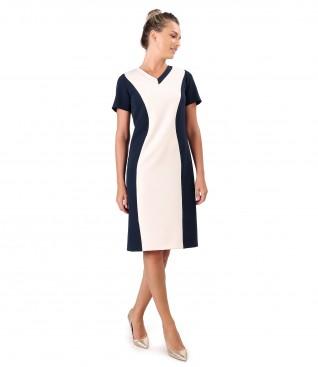 Rochie din stofa elastica in doua culori