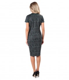Rochie midi din jerse elastic gros imprimat cu motive paisley