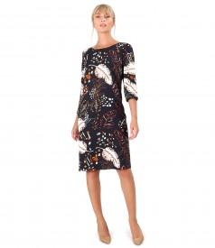 Rochie lejera din viscoza imprimata cu motive florale