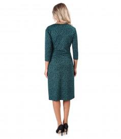 Rochie din jerse elastic gros imprimat cu frunze