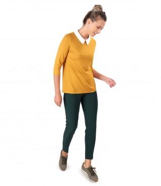 Pantaloni pana cu bluza cu guler alb