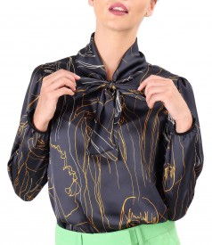 Bluza eleganta din saten imprimat