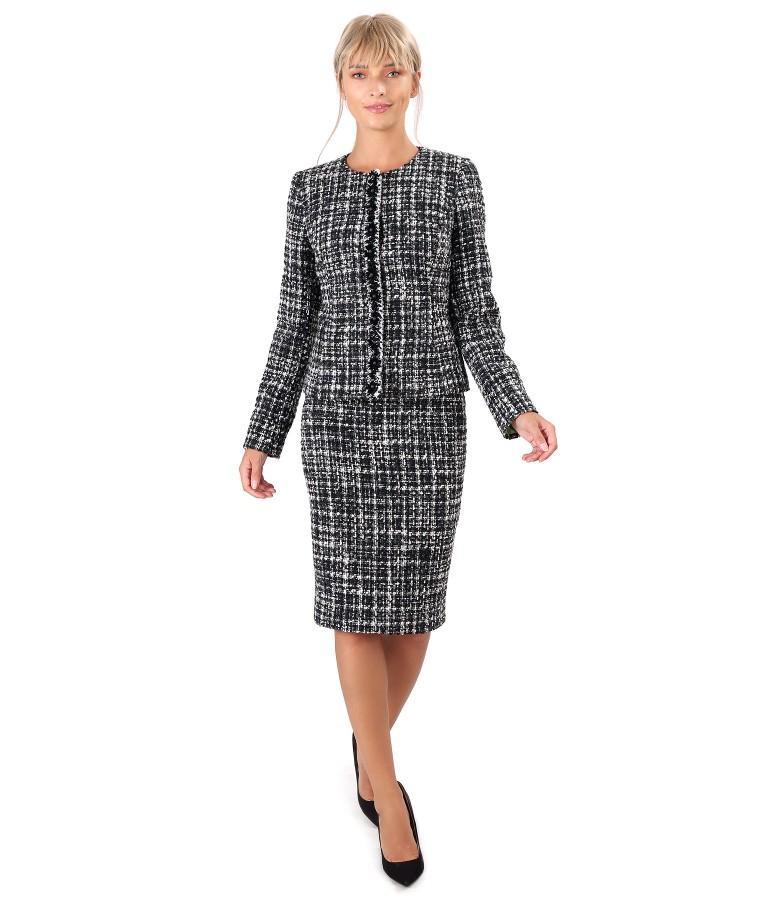 Costum dama office cu fusta si sacou din bucle cu lana
